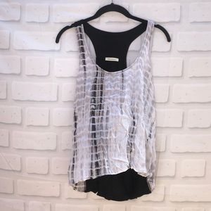 Phanuel Black/White Tie Dye Tank Top